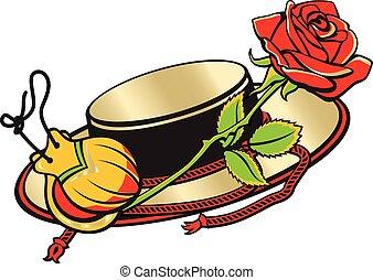 culture., kasztanyetta, rose., kalap, spanyol, spanyolország, piros