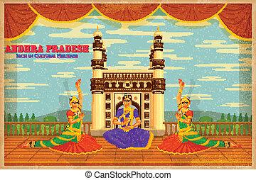 illustration depicting the culture of Andhra Pradesh, India