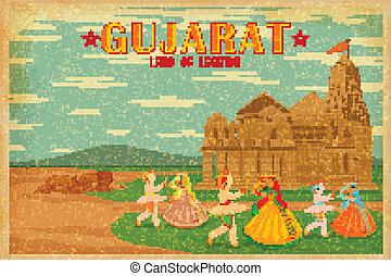 illustration depicting the culture of Gujrat, India