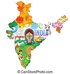 Culture of India - illustration of Indian map showing...