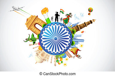 illustration of monument and dancer showing diverse culture of India