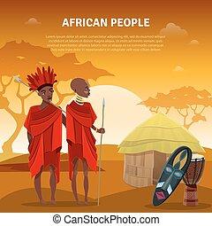 culture, plat, africaine, affiche, gens