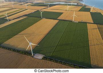 culture, prés, souffler, eco, renouvelable, alternative, vaste, électricité, secteur, vue, alimentez effets renouvellement, énergie, approvisionnement, sea., suivant, enroulez turbines, aérien, agriculture, obtenir