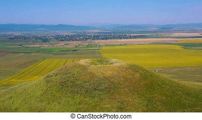 culture, rural, coloré, été, champs, paysage, bourdon, vert...