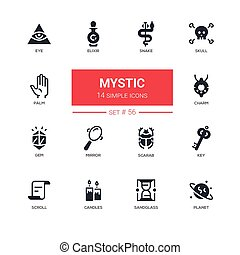 Culture theme, mystic - line design icons set. Items for...