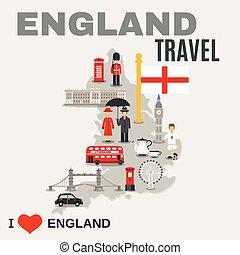 culture, voyageurs, angleterre, affiche