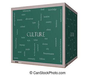 Culture Word Cloud Concept on a 3D cube Blackboard