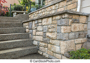 Cultured Stone Work on House Front - Cultured stone work on...