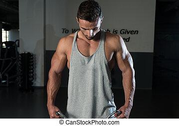 culturista, ejercicio, hombro
