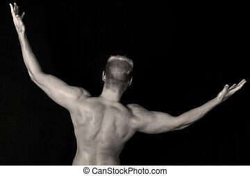 culturista, encima, negro, espalda, muscular