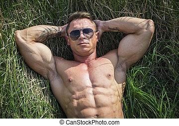 culturista, erba, posa, uomo