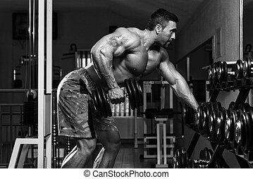 culturista, hacer, pesado, peso, ejercicio, para, espalda