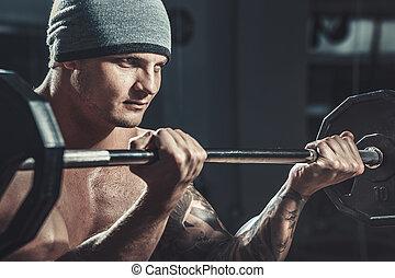 culturista, macho, muscular