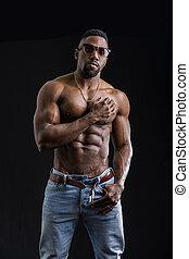 culturiste, américain, homme, musculaire, africaine, torse