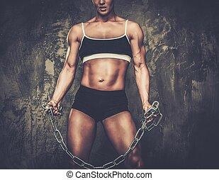 culturiste, femme, chaînes, musculaire, tenue