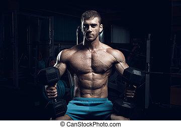 culturiste, mâle, fitness, modèle