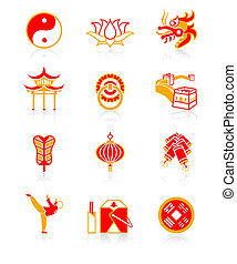 cultuur, icons|, sappig, chinees, reeks