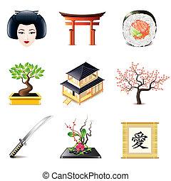 cultuur, vector, set, japanner, iconen