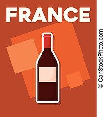 cultuur, wijntje, kaart, fles, frankrijk