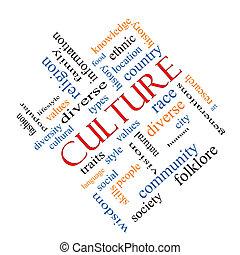 cultuur, woord, wolk, concept, hoekig