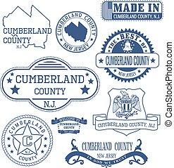 cumberland, condado, señales, genérico, nj, sellos