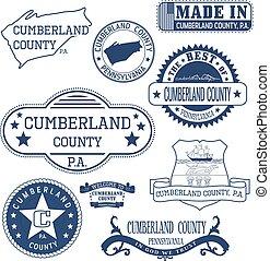 cumberland, condado, señales, genérico, papá, sellos