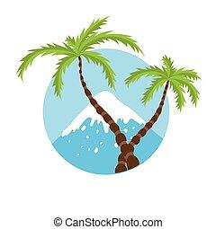 cumbre, árbol, vector, palma, logotipo