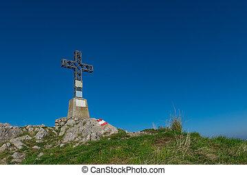 cumbre, cruz, un, montaña