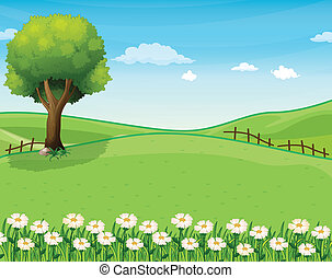 cumbre, gigante, árbol, jardín