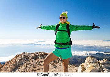 cumbre, mujer, éxito, excursionismo
