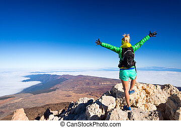 cumbre, mujer, éxito, montañismo