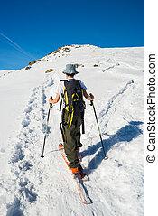 cumbre, viajar, hacia, alpino