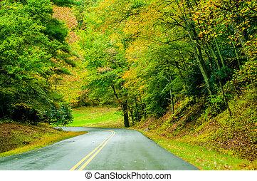 cume azul, chuva, outono, parkway