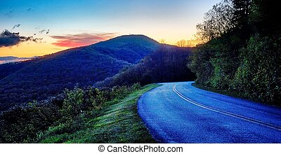 cume azul, dirigindo, negligencia, parkway, ao longo