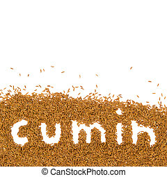 Cumin heap - Abstract background made of cumin with text and...