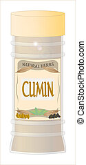 A 'Cumin' herb and spice jar isolated on a white background