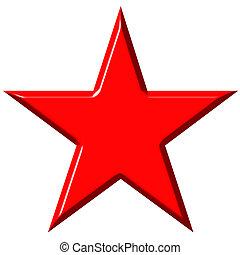cummunist, estrella, rojo, 3d