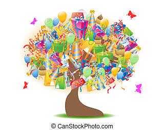 cumpleaños, árbol, regalos