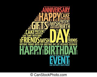 cumpleaños, 4, palabra, nube, feliz