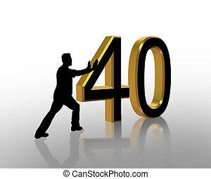 cumpleaños, 40th, 3d, invitación