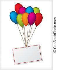cumpleaños, ballons, con, editable, blanco, etiqueta