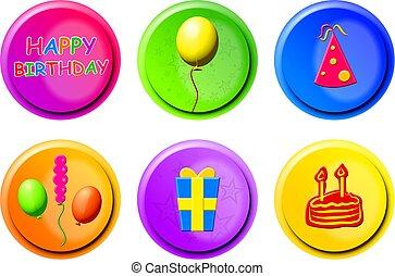 cumpleaños, botones