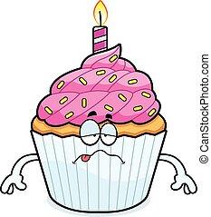 cumpleaños, caricatura, enfermo, cupcake