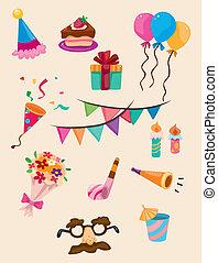 cumpleaños, caricatura, icono