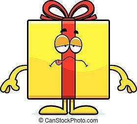 cumpleaños, caricatura, regalo, enfermo