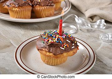 cumpleaños, casero, cupcake