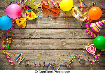 cumpleaños, colorido, plano de fondo, carnaval, o