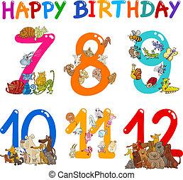 cumpleaños, conjunto, aniversario, caricaturas
