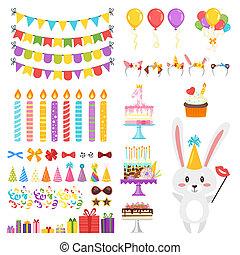 cumpleaños, conjunto, feliz