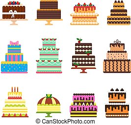 cumpleaños, conjunto, nacimiento, pastel de queso, aislado, ...